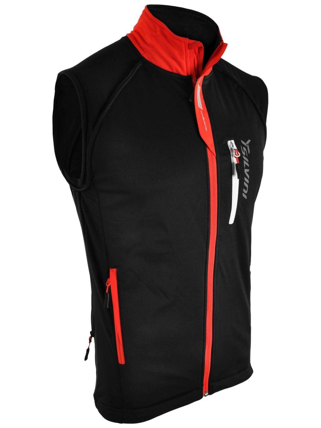 Kurtka na narty biegowe, softshell Silvini Mutta, męska, odpinane rękawy czano+czerwona