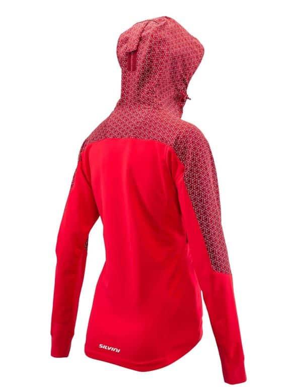 Damska kurtka na narty biegowe, z kapturem Silvini Lano czerwona