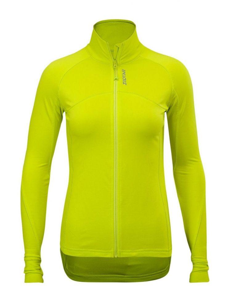 Bluza damska elastyczna Silvini Staffora na biegówki i rower typ slim-fit ocieplana, kolor cytrynowy