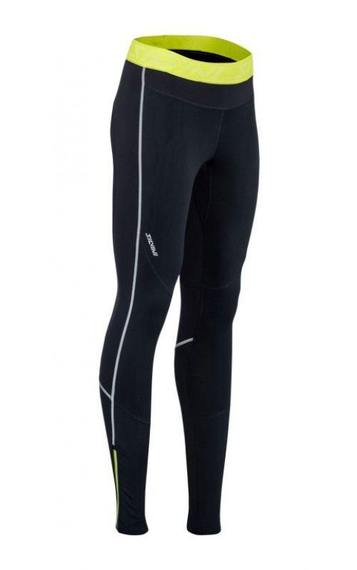 Elastyczne damskie spodnie na narty biegowe i do biegania Silvini Movenza WP1742 ciepłe,czarno-żółte